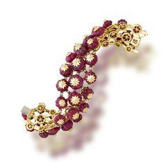 A ruby bead and diamond bracelet, Tony Duquette