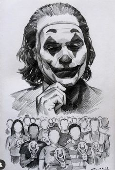 Put on a happy face!🃏 Revolution of the unseen? That's exactly what I understand from the movie trailers but I'm sure there will be much more c . Joker Drawings, Pencil Art Drawings, Art Drawings Sketches, Doodle Drawings, Spiderman Noir, Joker Poster, Joker Images, Joker Art, Desenho Tattoo