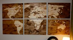 Wood Stained World Map by CraftyHandsFullHeart on Etsy, $85.00 wood stain world map