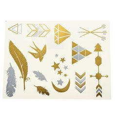 Gold Silver Metallic Temporary Tattoos Sticker Decal Body Art - Gchoic.com