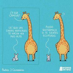 giraffe, rabbit, and funny image Funny Cute, Hilarious, Spanish Jokes, Spanish Vocabulary, Spanish Lessons, Mr Wonderful, Inspirational Phrases, Funny Illustration, Humor Grafico