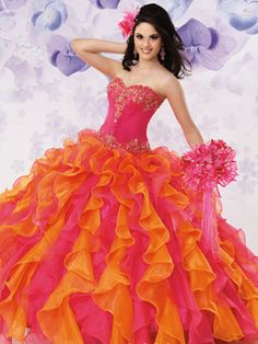 Colorful Quince Dresses - Long Dress With Orange And Pink Layered Skirt