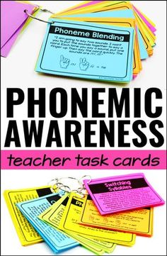 Teach Your Child To Read Tips - Phonemic awareness activities for kindergarten, first grade, and reading intervention! Teacher task cards touch on every phonemic skill! - TEACH YOUR CHILD TO READ and Enable Your Child to Become a Fast and Fluent Reader! Phonics Reading, Teaching Phonics, Phonics Activities, Kindergarten Reading, Kindergarten Activities, Teaching Reading, Guided Reading, Preschool, Reading Intervention Classroom