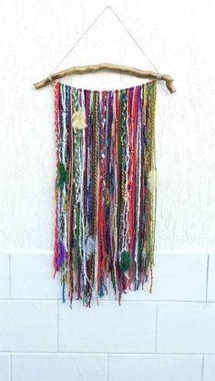Bohemian Decor, Boho Garland Wall Hanging, Wall Tapestry, Yarn Mobile, Boho Gypsy decor, Indian Sari, Unusual wall décor, tapestries