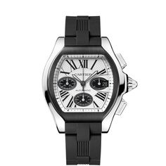 The Roadster watch is inspired by the world of 1950s car racing. The streamlined dial of the steel case is a trademark of the era, while the sword-shaped luminescent hands, Roman numerals and sapphire crystal are signature Cartier features. Adorned with a white or pink satin-finish dial, the Roadster will equally delight any male or female. For VIP pricing call Ryan 888.4324367  REF:W6206020