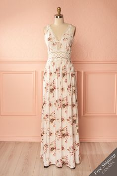 Keyra Day Off-White Floral Maxi Dress | Boutique 1861