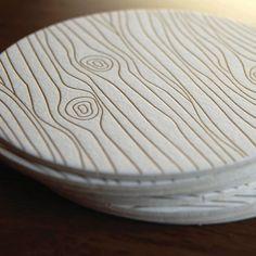 Wood Grain coaster- Letterpress printed, SET of 8. $12.00, via Etsy.