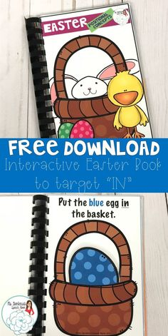 Free interactive speech therapy booklet that targets positional terms and following directions; Easter theme speech therapy resource from Ms. Gardenia's Speech Room on Teachers Pay Teachers.