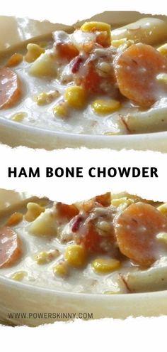 Ham Bone Chowder – Page 2 – One Of Recipe with ham bone Corn Chowder With Ham, Ham Chowder Recipe, Corn Chowder Soup, Chowder Recipes, Recipes Using Ham Bone, Ham Recipes, Crockpot Recipes, Cooking Recipes, Soup Recipes