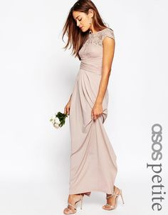 f6f6611673 Image 1 of ASOS PETITE WEDDING Lace Top Pleated Maxi Dress Pink Bridesmaid  Dresses