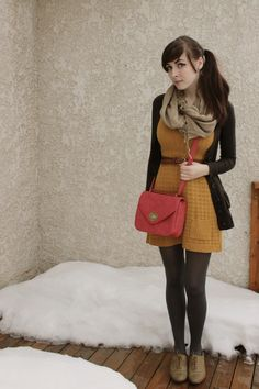 Dark cardigan, belted yellow dress, grey tights, oxfords, red cross body, cozy scarf