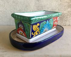 Small Talavera Pottery Window Planter for Herbs Succulents, Mexican Home Southwestern Kitchen Decor