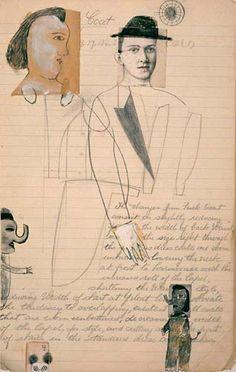 DEBORAH BARRETT  DRESS COAT  1999 pencil, hand-coloring and collage on iris print  24-¾ x 15-¾ inches  Ed. Variee of 25. #3/25