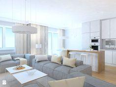 projekt mieszkania we Wrocławiu 1 - Duży salon z kuchnią z jadalnią, styl minimalistyczny - zdjęcie od Dekoncept