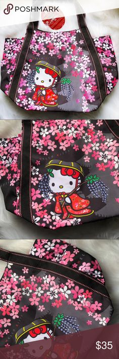 "Hello Kitty X Dearisimo Kimono Cherry Bloom Bag Hello Kitty x Dearisimo Japanese Kimono Cherry Blossom Bag! New with original tag! Super cute design.  Roughly measures at  18"" wide  12.5"" long 7"" depth Super cute satchel type style! Hello Kitty Bags"