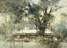 Watercolor by Chien Chung-Wei - Kishu An Forest of Literature