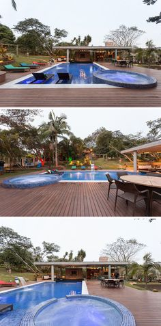This swimming pool has a large wooden deck that surrounds it and provides plenty of space for outdoor lounging and dining.