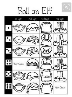 Roll an Elf Dice Game. With each roll you add a feature to your elf. Everyone will end up with a different elf! A great stay quiet while you wait game for the kids! Drawing Games For Kids, Art For Kids, Art Sub Plans, Winter Art Projects, Art Worksheets, Dice Games, School Holidays, Art Classroom, Christmas Activities