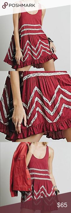Free People Voile and Lace Trapeze slip dress Free People Voile and Lace Trapeze mini slip    XS.        Red combo (nice red w/ white lace)  ruffled hem  100% Rayon Free People Dresses Mini