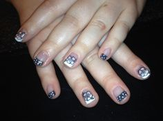 Flower and polka dot French nail art