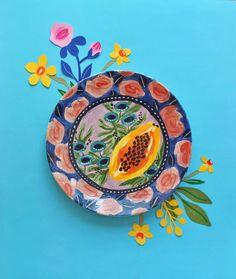 Plato de ceramica pintado a mano por la artista Jo Jiménez (@jojimenez) Decorative Plates, Tableware, Hand Painted Pottery, Pottery Plates, Mud, Clay, Objects, Flowers, Manualidades