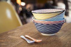 Bols en porcelaine couleurs pastels motif japonais - oranjade.com