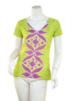 Aztec Lime (7297) Sheer Short Sleeve V-neck T-shirt
