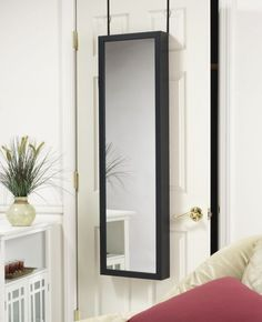 Mirror Jewelry Armoire Organizer Over Door or Wall Hang Black Free Shipping | eBay