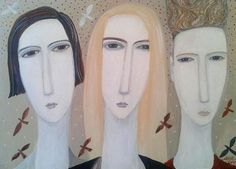 dee-nickerson-three-heads-with-birds-painting-2014-24x30cm