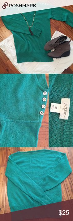 """J CREW FACTORY """"MOHAIR DROP-SHOULDER SWEATER"""" Jungle green 😍 and super soft!  Retail $64.50.  Style 53580 if you want to view on factory website.   Silver buttons on one shoulder with extra button still attached to inside tag.  Perfect condition.  From J Crew: Hits below hip. Acrylic/nylon/wool/mohair. Import. Machine wash. J. Crew Factory Sweaters Crew & Scoop Necks"""