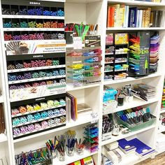Who doesn't love a good solid pen wall? Pens And Pencils, Office Art, Gift Store, Art Supplies, Custom Invitations, Paper, Wall