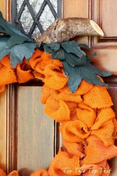 Orange burlap pumpkin. Perfect for you fall door!