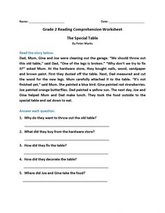 Grade Reading Worksheets - Best Coloring Pages For Kids - melina 2nd Grade Reading Worksheets, 2nd Grade Reading Comprehension, Picture Comprehension, Spelling Worksheets, English Worksheets For Kids, Reading Passages, Nouns Worksheet, Reading Activities, Comprehension Exercises