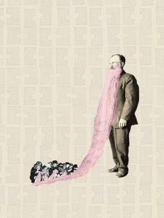 "Saatchi Art Artist Jaume Serra Cantallops;  Kolaž, ""Pink Beard.  Limited Edition tisk 6 10 ""#art"