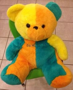 """UNITED COLORS OF BENETTON. LIMITED EDITION TEDDY BEAR. Three colours of Yellow, Orange and Green. 16"""" Sitting Plush Soft Toy. Wonderful toy and cuddle buddy! 16"""" from head to bottom.   eBay!"""
