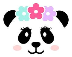 Panda face with lashes SVG, Panda face Cut Files - SVG, Studio, Studio3 - Silhoutte, Cricut and More - BD206