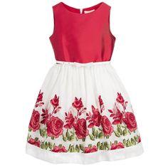 Monnalisa Girls Red & Ivory Floral Dress with Belt at Childrensalon.com