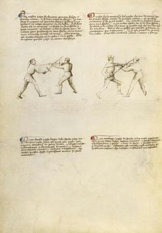 Combat with Sword Artist/Maker(s): Fiore Furlan dei Liberi da Premariacco, author [Italian, about 1340/1350 - before 1450] Date: about 1410 Medium: Tempera colors, gold leaf, silver leaf, and ink on parchment Dimensions: Leaf: 27.9 x 20.6 cm (11 x 8 1/8 in.) Object Number: 83.MR.183.27v Department: Manuscripts