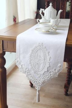 "Items similar to Free shipping-White Handmade White Wedding table deco Lace 12"" Antique Handmade Table Runner,Embroidery Jacquard 31x180cm on Etsy - Maria"