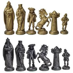 Black and Gold Plastic Medieval Chess Pieces
