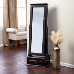 Mirrored Cheval Jewelry Armoire Locking Wood Espresso Finish