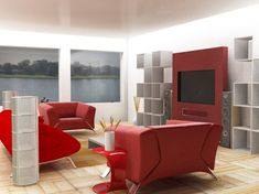 red living room with cube shelves