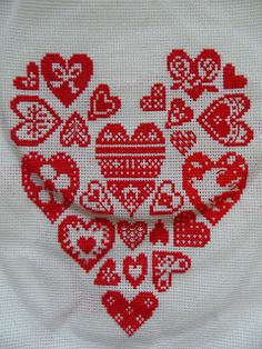heart cross stitch sampler sewn by Craft with Ruth Cartwright