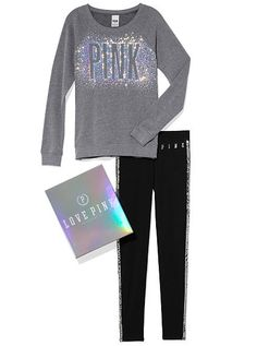 Bling Crew and Legging Gift Set PINK