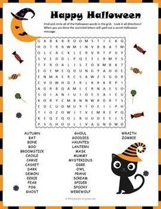 Halloween Puzzle: Halloween Word Search - with a SECRET MESSAGE - A word search puzzle featuring 30 Halloween vocabulary words and a secret message. This would make a good activity for early finishers or a handout activity for kids to take home and enjoy.