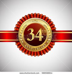 Celebrating 34th anniversary logo, with golden badge and red ribbon isolated on white background.