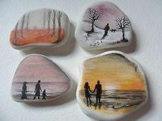 People paintings - Miniature art on sea glass & sea pottery
