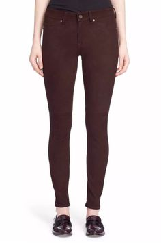 """$968 JOIE """"Deep Wine"""" Mid Rise Stretch Suede Leather Skinny Jeans Pants 25 #JOIE #SlimSkinny"""