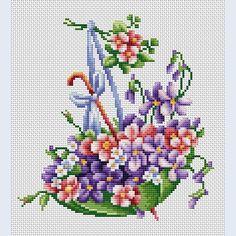 Embroidery Luca-S Green Umbrella Cross Stitch Heart, Simple Cross Stitch, Beaded Cross Stitch, Counted Cross Stitch Kits, Cross Stitch Flowers, Cross Stitch Embroidery, Easy Cross Stitch Patterns, Cross Stitch Designs, Cross Stitching