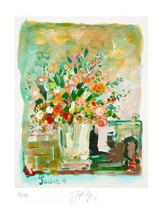 White Vase Bouquet Limited Edition Fine Art Print by Jacques Pepin